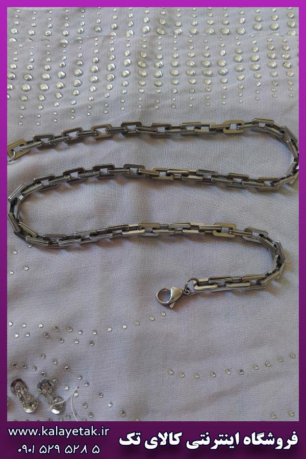 زنجیر نقره ای دوبل استیل