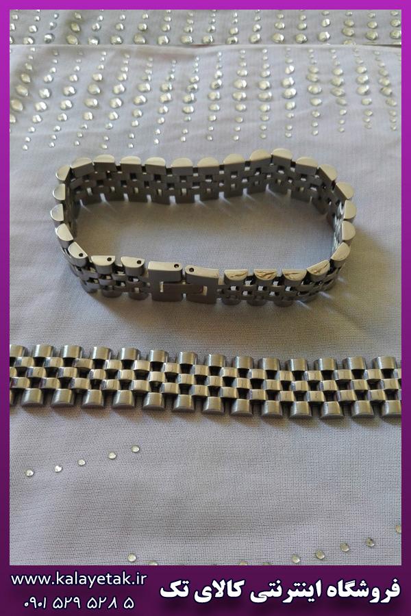دستبند نقره ای رولکس استیل