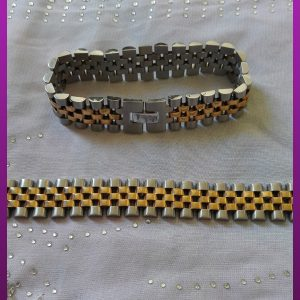 دستبند دورنگ رولکس استیل