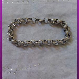 دستبند نقره ای زنجیری استیل