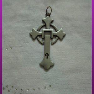 پلاک صلیب متحرک نقره ای
