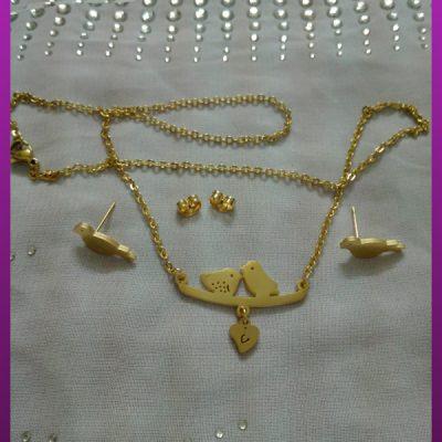 نیم ست پرندگان طلایی استیل