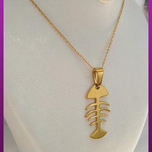 گردنبند تیغ ماهی طلایی استیل