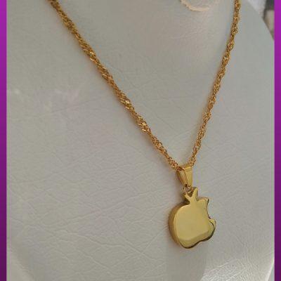 گردنبند اپل (سیب) طلایی استیل