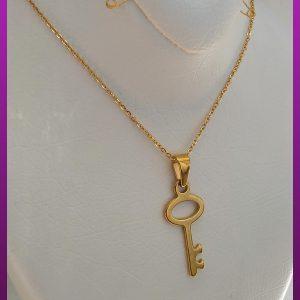 گردنبند کلید ظریف طلایی استیل