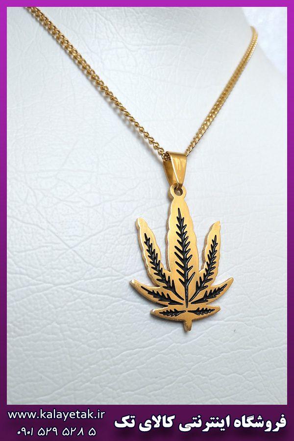 گردنبند برگ طلایی استیل