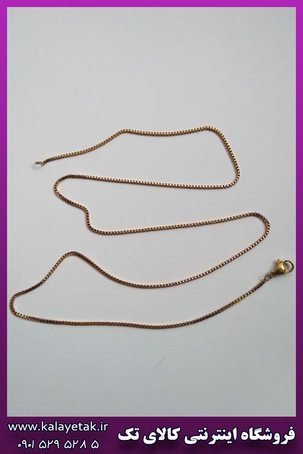 زنجیر ظریف طلایی بلند استیل