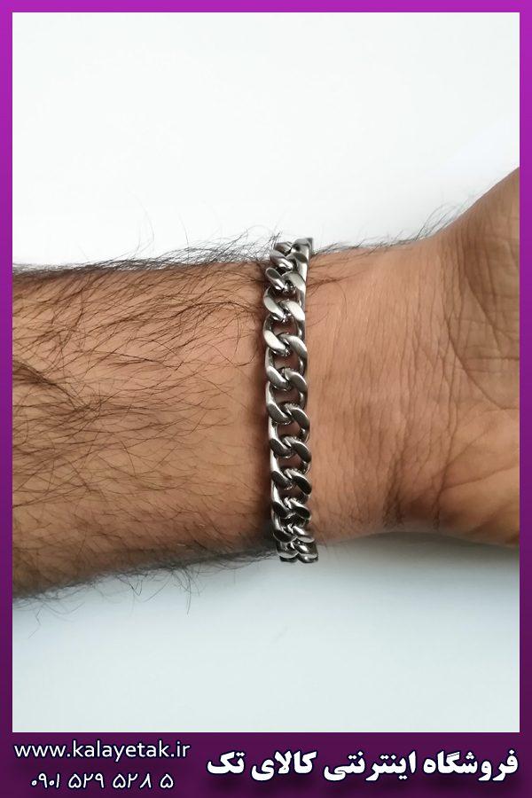 دستبند نقره ای ضخیم کارتیه استیل