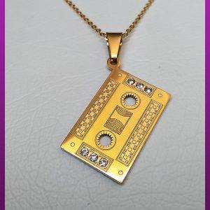گردنبند نوار کاست طلایی استیل