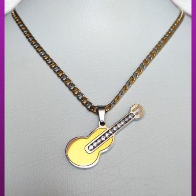 گردنبند گیتار نگین دار دورنگ استیل
