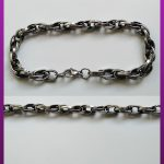 دستبند زنجیری نقره ای سیاه قلم استیل