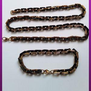 ست زنجیر و دستبند دوبل دورنگ استیل