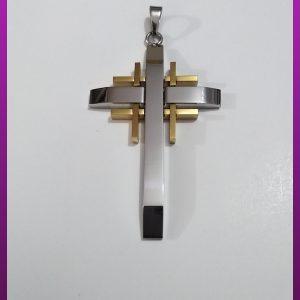 پلاک صلیب دورنگ استیل