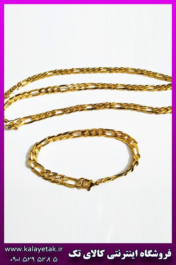 ست زنجیر و دستبند کارتیه طلایی خط دار استیل
