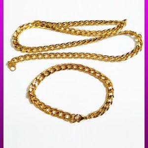 ست زنجیر و دستبند کارتیه طلایی استیل