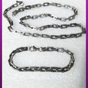 ست زنجیر و دستبند دوبل نقره ای استیل