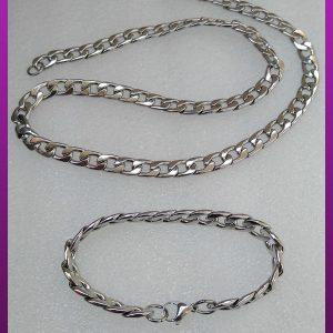 ست زنجیر و دستبند کارتیه نقره ای پیوسته استیل