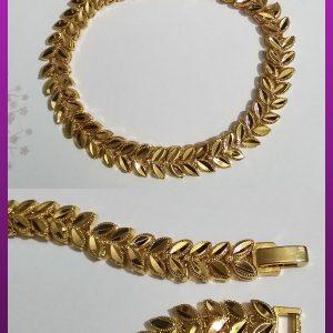 دستبند برگ طلایی برنجی