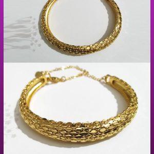 دستبند النگویی طلایی برنجی