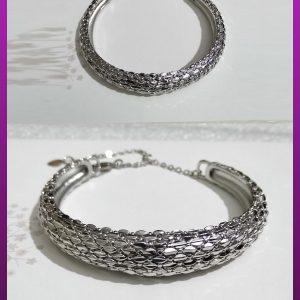 دستبند النگویی نقره ای برنجی