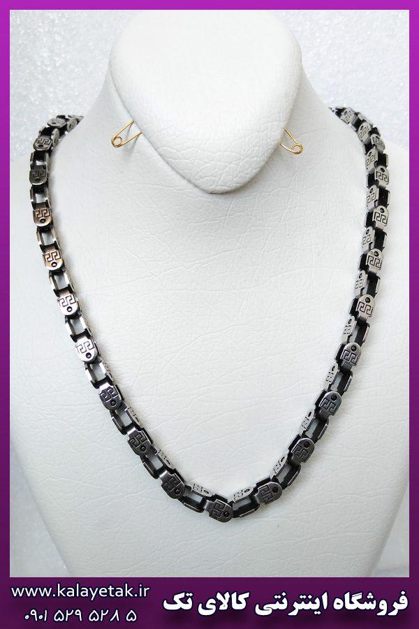 زنجیر قفلی سیاه قلم طرح ورساچه نقره ای استیل