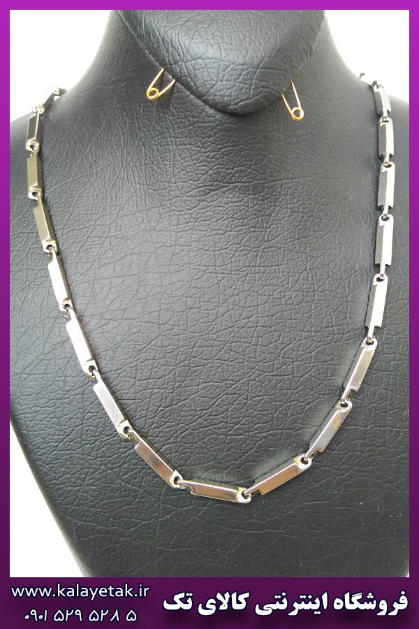 زنجیر ساده نقره ای استیل