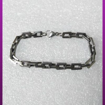 دستبند دوبل نقره ای استیل
