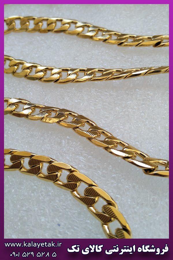 ست زنجیر و دستبند کارتیه خط دار طلایی استیل