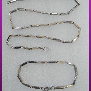 ست زنجیر و دستبند ورساچه نقره ای استیل