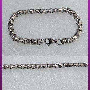 دستبند نقره ای آجری استیل