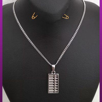 گردنبند چرتکه نقره ای استیل