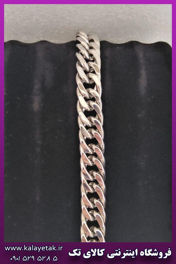 دستبند کارتیه براق نقره ای استیل