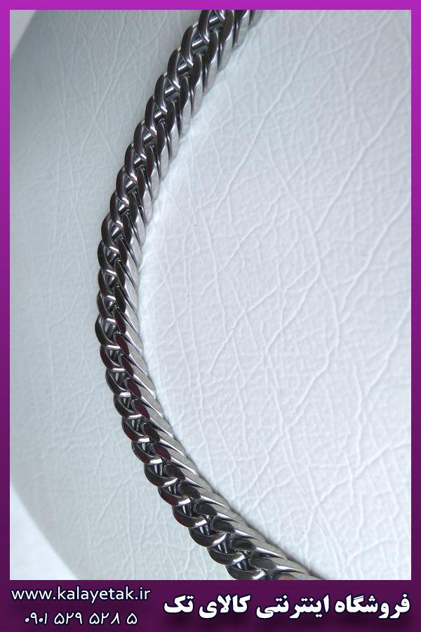 زنجیر مکعبی کارتیه کوبیده براق نقره ای استیل