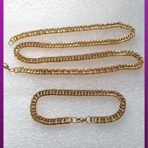 ست زنجیر و دستبند کارتیه مکعبی طلایی استیل