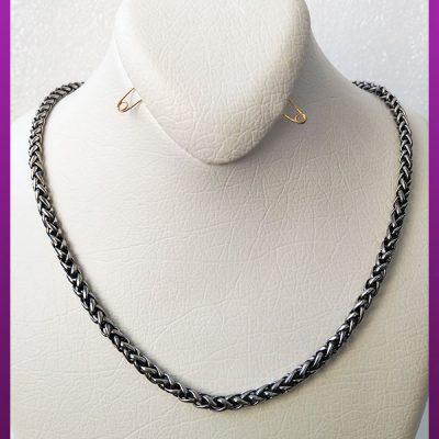 زنجیر پیچی نقره ای سیاه قلم استیل