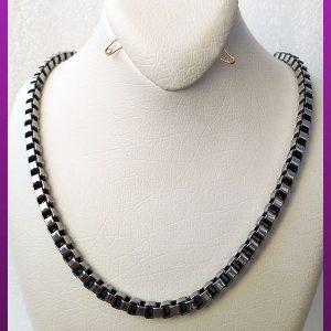 زنجیر آجری نقره ای سیاه قلم استیل