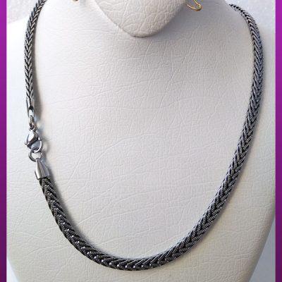 زنجیر مکعبی نقره ای سیاه قلم استیل