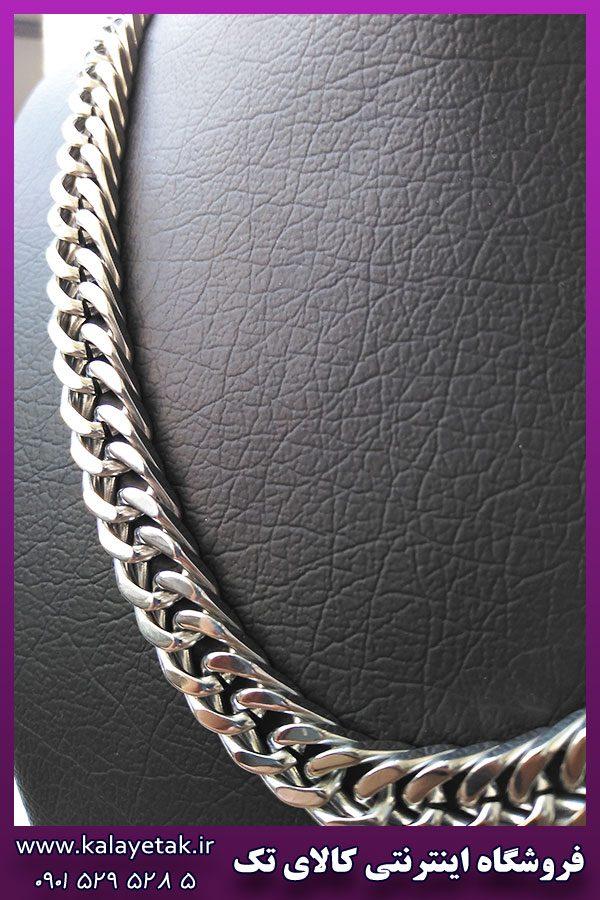 زنجیر کارتیه مکعبی براق نقره ای استیل