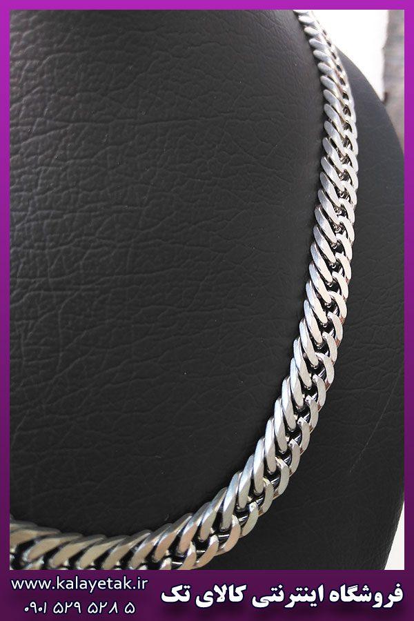 زنجیر کارتیه مکعبی مات نقره ای استیل