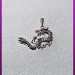 پلاک اژدها نقره ای استیل