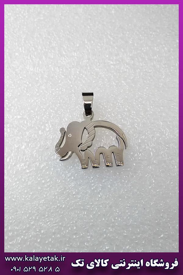 پلاک فیل نقره ای استیل