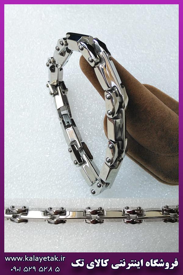 دستبند قفلی نقره ای استیل
