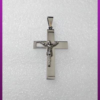 پلاک صلیب برجسته مسیح نقره ای استیل