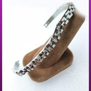 دستبند رولکس تاشو نقره ای استیل