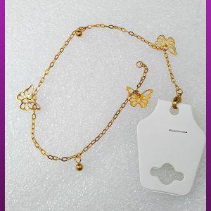 دستبند پروانه طلایی استیل