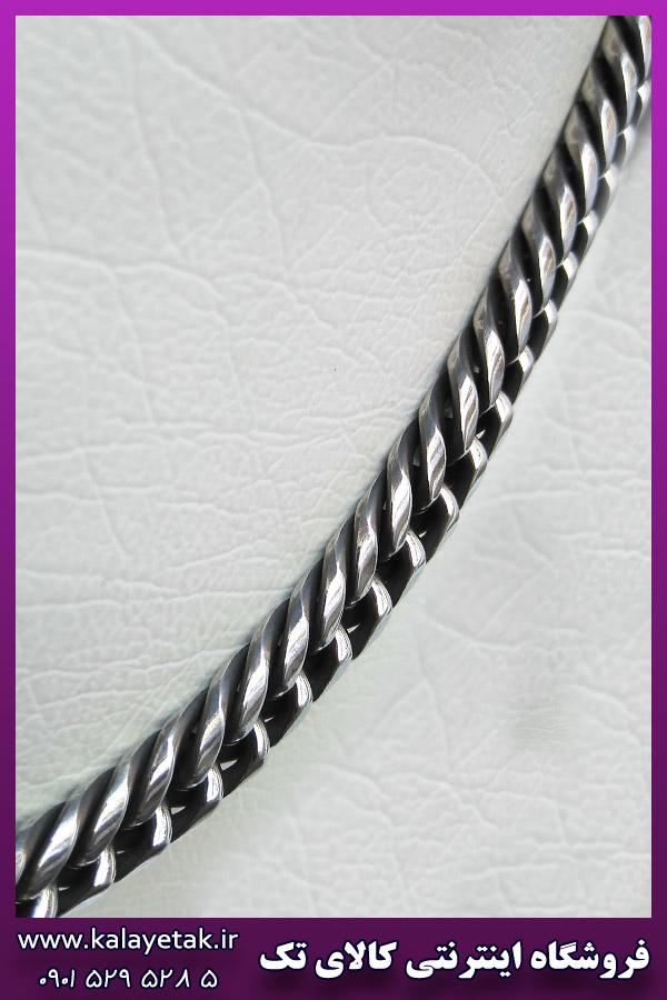 زنجیر کارتیه پیوسته سیاه قلم نقره ای استیل