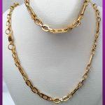 ست زنجیر و دستبند متنوع دیپلمات طلایی استیل