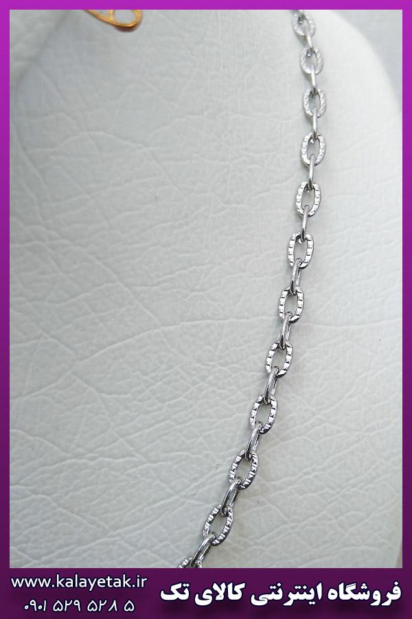 زنجیر مات طرح دار نقره ای استیل