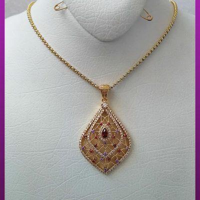 گردنبند زنانه پرنگین توخالی طلایی