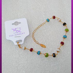 دستبند دخترانه مهره رنگی طلایی